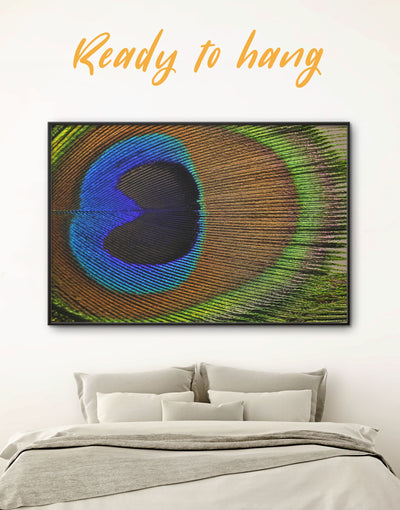 Framed Green Blue Peacock Wall Art Canvas - Abstract bedroom bird wall art blue and green wall art Feather Wall Art
