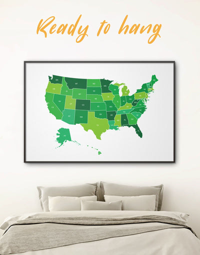 Framed Green USA Map Wall Art Canvas - corkboard country map wall art framed canvas framed map wall art framed wall art