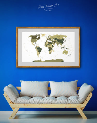 Framed Green World Map Wall Art Print - framed print framed world map print Green Living Room Office Wall Art