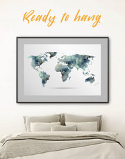 Framed Grey World Map Wall Art Print
