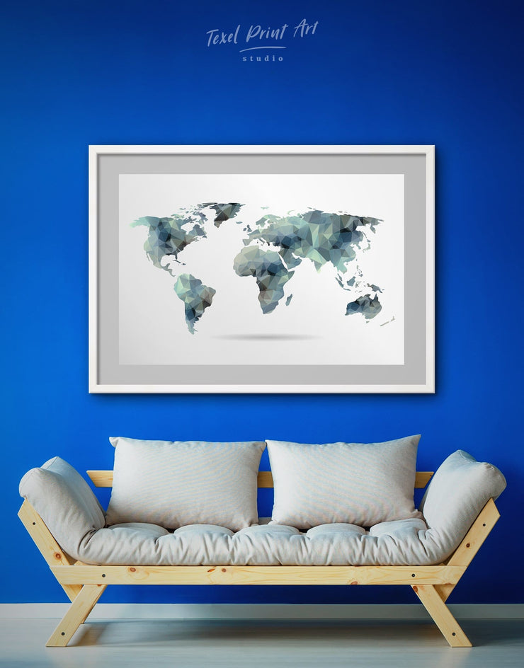 Framed Grey World Map Wall Art Print - Abstract Abstract map abstract world map wall art framed map wall art framed print