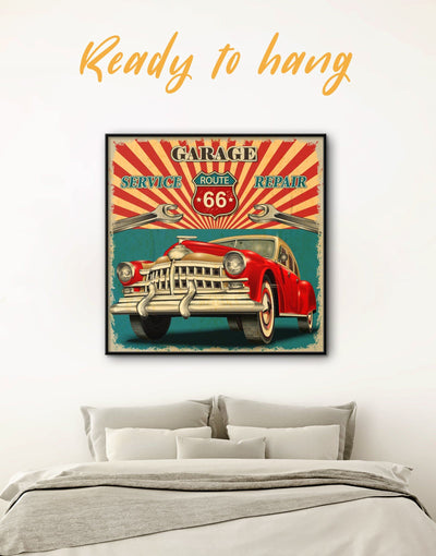 Framed Grunge Car Wall Art Canvas - Car framed canvas garage wall art Vintage