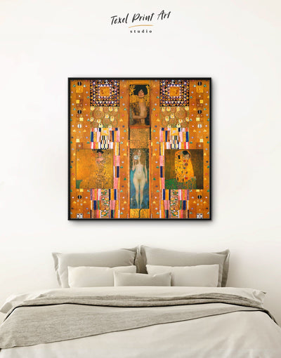 Framed Gustav Klimt Paintings Collage Wall Art Canvas - art gallery wall bedroom Brown framed framed canvas