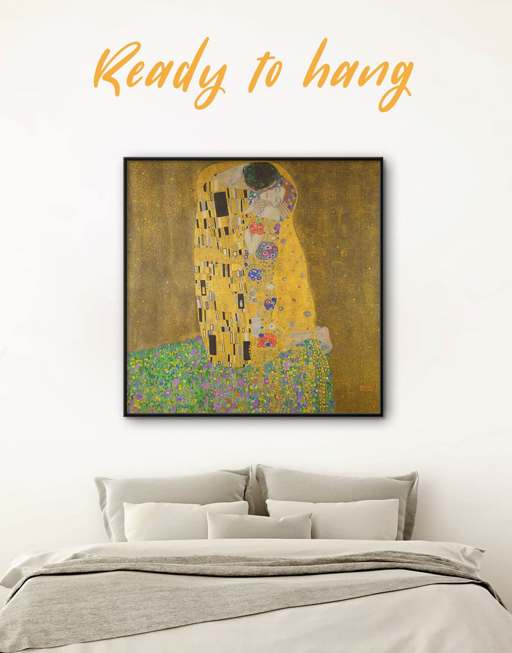 Framed Gustav Klimts The Kiss Wall Art Canvas - art gallery wall bedroom framed canvas Gustav Klimt Hallway