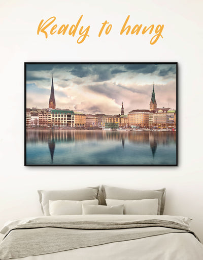 Framed Hamburg Wall Art Canvas - bedroom City Skyline Wall Art Cityscape framed canvas Living Room