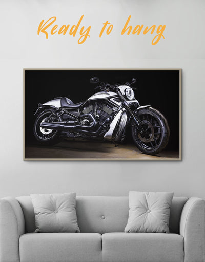 Framed Harley Davidson Bike Wall Art Canvas - bachelor pad framed canvas garage wall art Living Room manly wall art