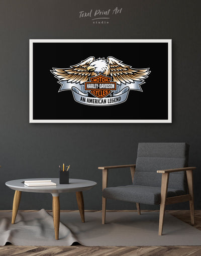 Framed Harley Davidson Company Logo Wall Art Canvas - Canvas Wall Art bachelor pad black framed canvas Hallway Living Room