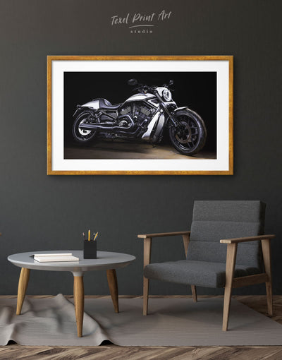 Framed Harley Motorcycle Wall Art Print - bachelor pad framed print garage wall art Living Room manly wall art