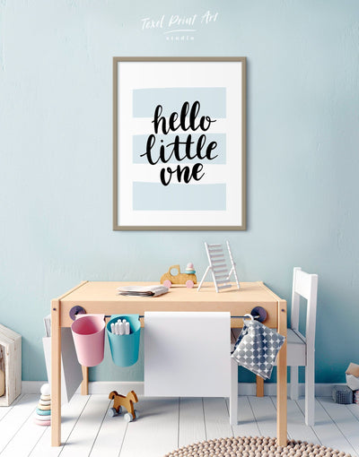 Framed Hello Little One Nursery Wall Art Print - Wall Art blue framed print Kids room kids wall art Nursery