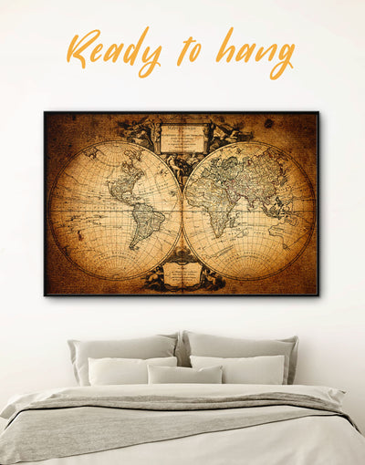 Framed Hemisphere Map Wall Art Canvas - Antique world map canvas bedroom Brown double hemisphere world map framed canvas