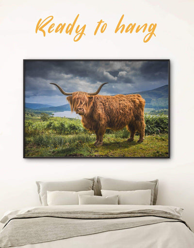 Framed Highland Cow Wall Art Canvas - Animal Animals bedroom cow canvas wall art Dining room