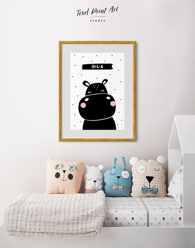 Framed Hippo Nursery Decor Print - Wall Art black black and white framed print Kids room kids wall art