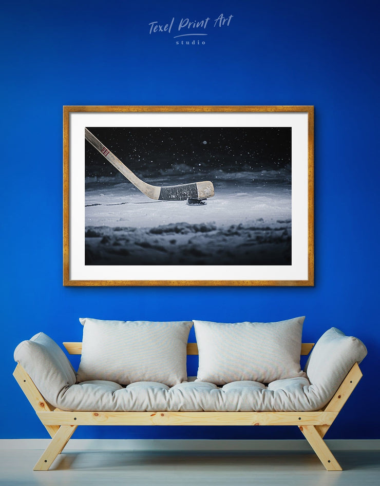 Framed Hockey Puck Wall Art Print - bachelor pad framed print framed wall art game room wall art hockey wall art