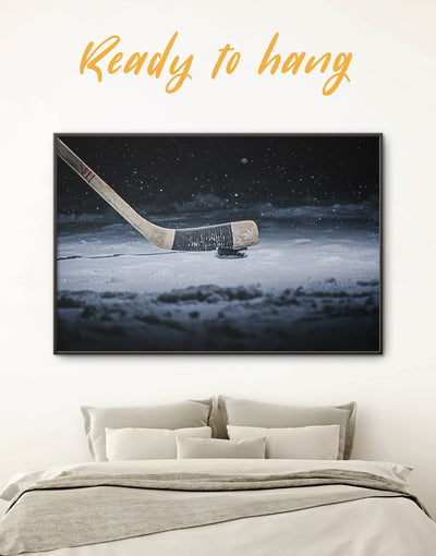 Framed Hockey Stick Wall Art Canvas - bachelor pad framed canvas framed wall art game room wall art hockey wall art