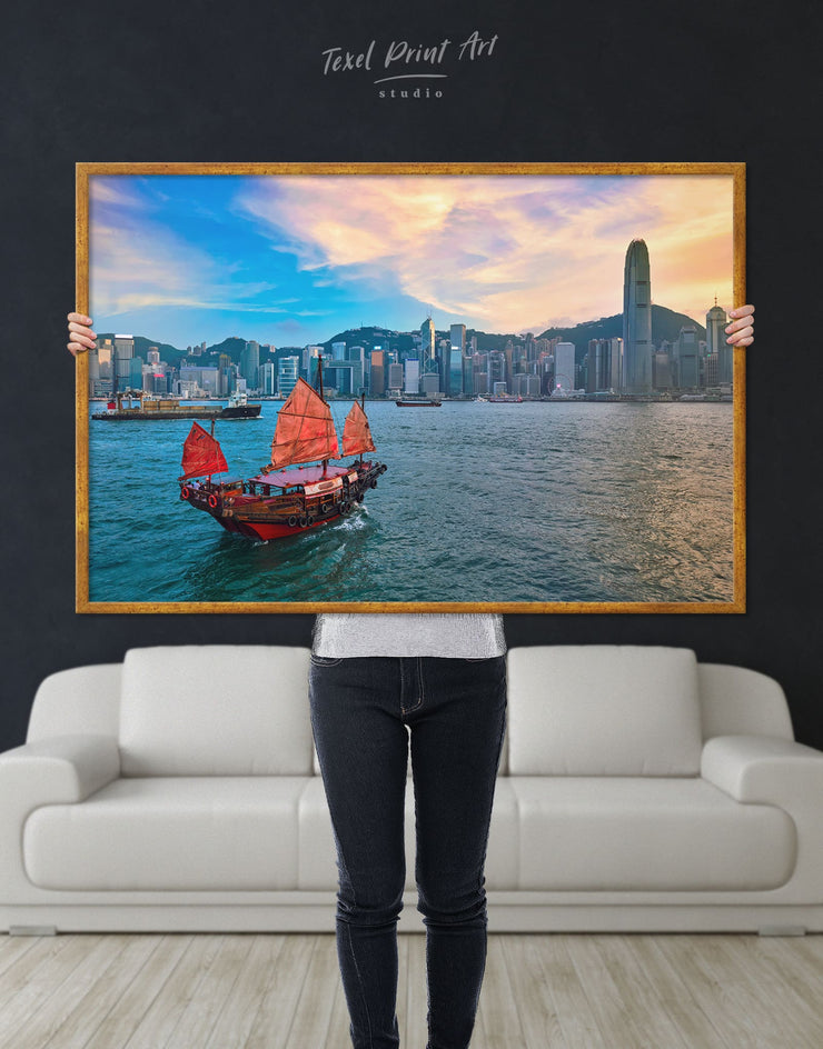 Framed Hong Kong Skyline Wall Art Canvas - Canvas Wall Art bedroom City Skyline Wall Art Cityscape framed canvas Hallway