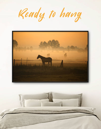 Framed Horse on Pasture Wall Art Canvas - Animal Animals Brown brown framed wall art Farmhouse