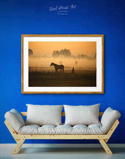Framed Horse on Pasture Wall Art Print - Animal Animals Brown brown framed wall art Farmhouse