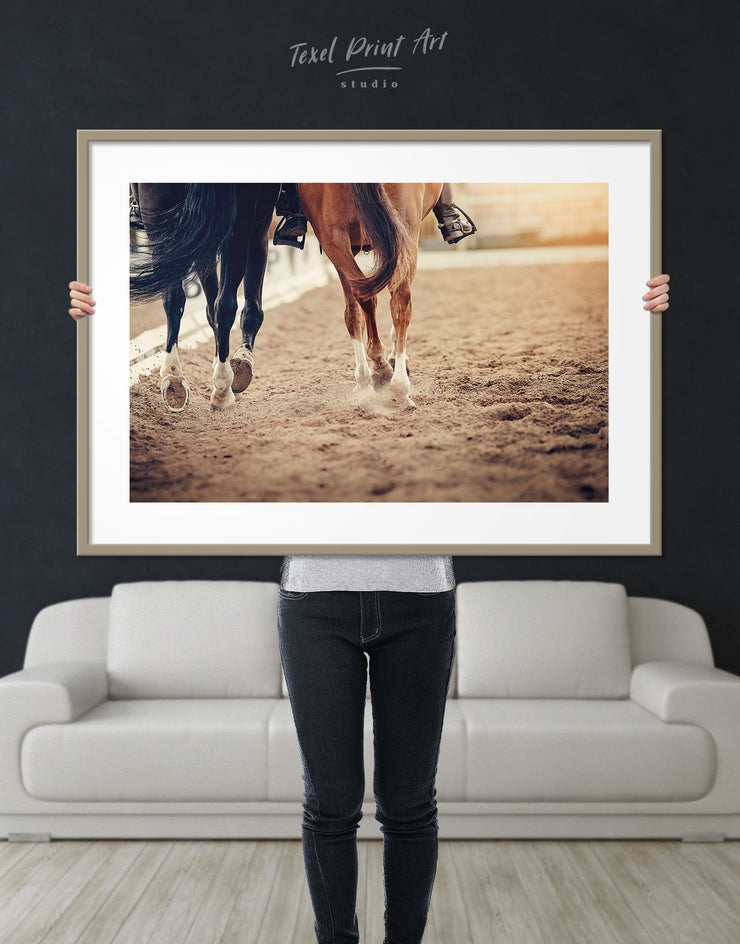 Framed Horse Racing Wall Art Print - Wall Art Animal Animals framed print Hallway horse wall art