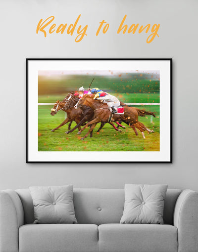Framed Horse Racing Wall Art Print - Wall Art bachelor pad framed print Hallway horse wall art inspirational wall art