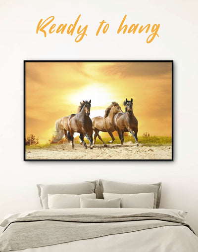 Framed Horses Wall Art Canvas - Animal Animals Farmhouse framed canvas horse wall art