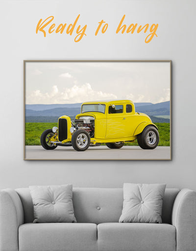 Framed Hot Rod Wall Art Canvas - bachelor pad car framed canvas garage wall art Hallway