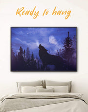 Framed Howling Wolf Wall Art Canvas 0453