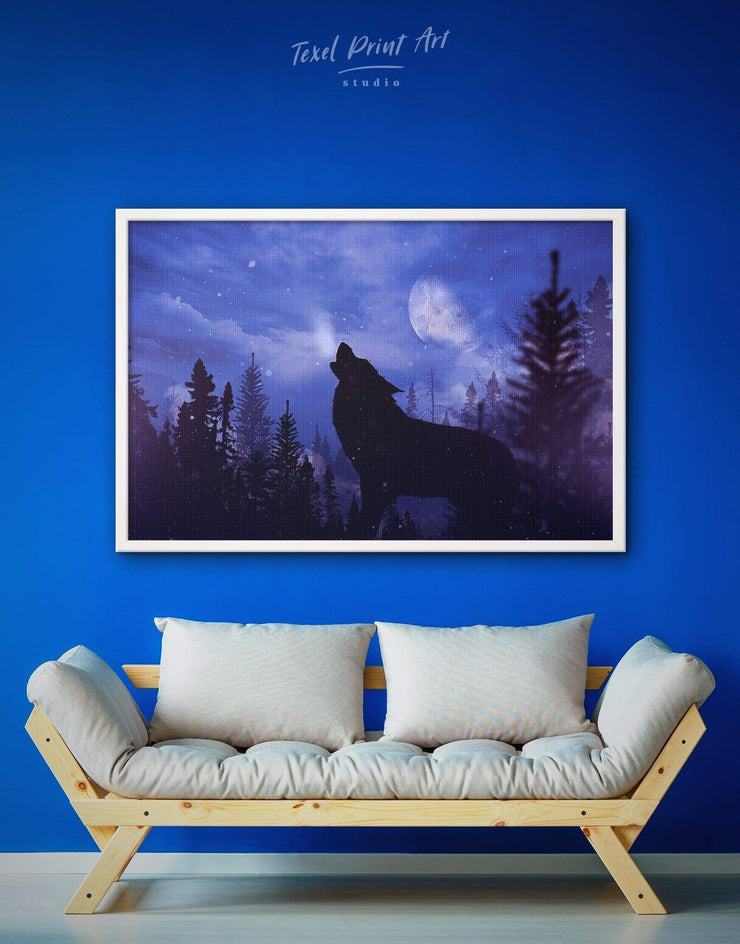 Framed Howling Wolf Wall Art Canvas - Animal bedroom framed canvas framed wall art Living Room