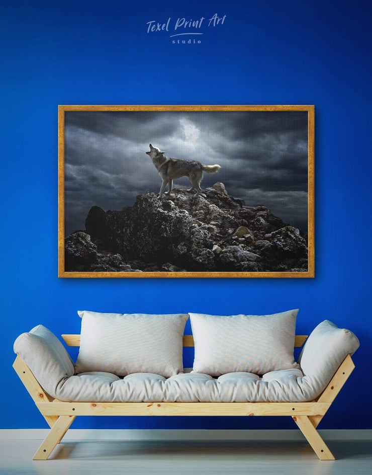 Framed Howling Wolf Wall Art Canvas - Animal Animals bedroom framed canvas Grey