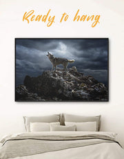 Framed Howling Wolf Wall Art Canvas 0454