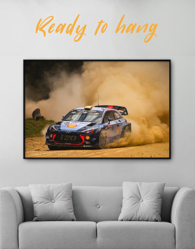 Framed Hyundai i20 WRC at Night Wall Art Canvas - bachelor pad Car framed canvas garage wall art wall art for men