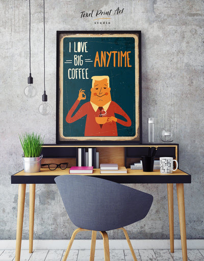 Framed I Love Big Coffee Wall Art Canvas - Dining room framed canvas Kitchen Living Room red