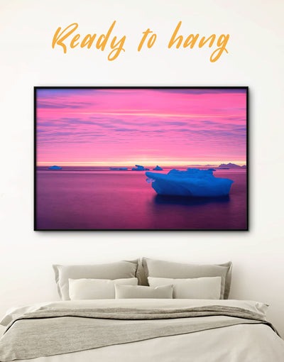 Framed Ice Floe Wall Art Canvas - bedroom framed canvas Living Room Nature Office Wall Art