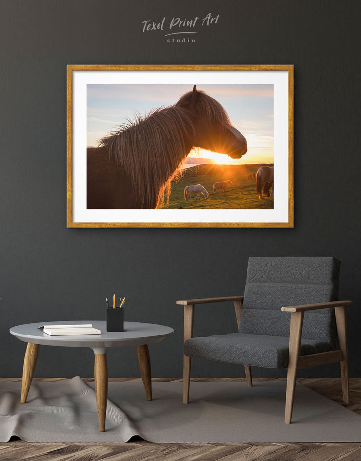 Framed Icelandic Horse and Sunset Wall Art Print - Wall Art Animal Animals framed print Hallway horse wall art