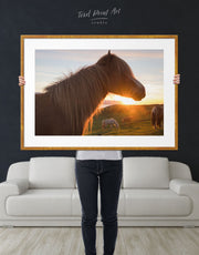 Framed Icelandic Horse and Sunset Wall Art Print