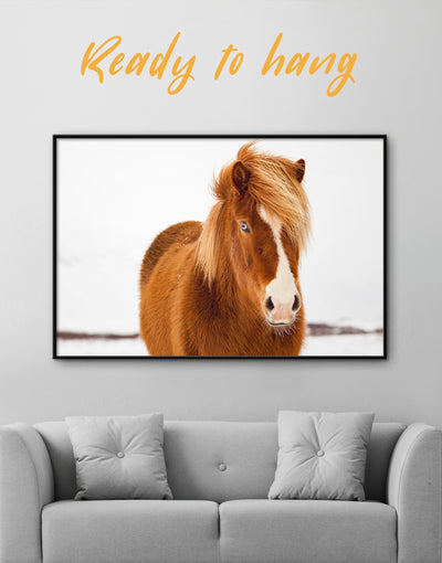 Framed Icelandic Horse Wall Art Canvas - Animal Animals bedroom brown Dining room