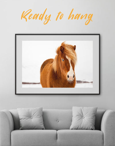 Framed Icelandic Horse Wall Art Print - Animal Animals bedroom brown Dining room