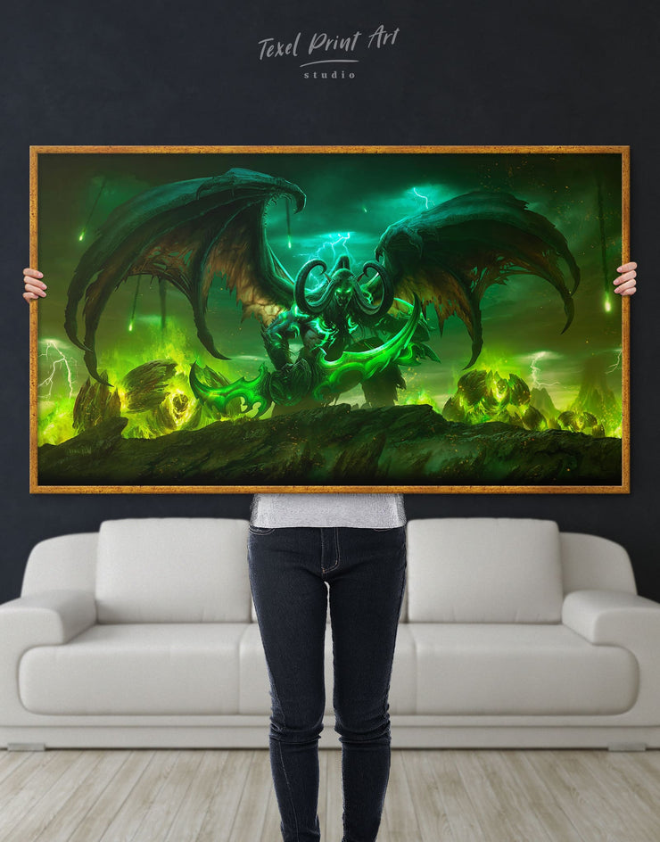 Framed Illidan World of Warcraft Wall Art Canvas - bachelor pad bedroom framed canvas game room game room wall art