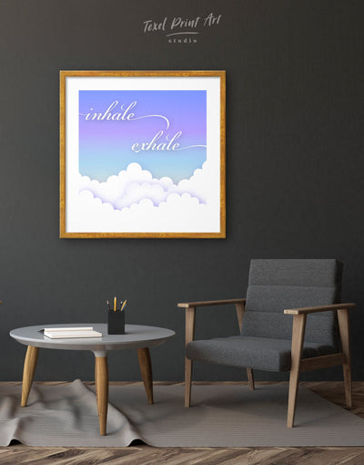 Framed Inhale Exhale Wall Art Print - bedroom blue framed print Hallway inspirational wall art