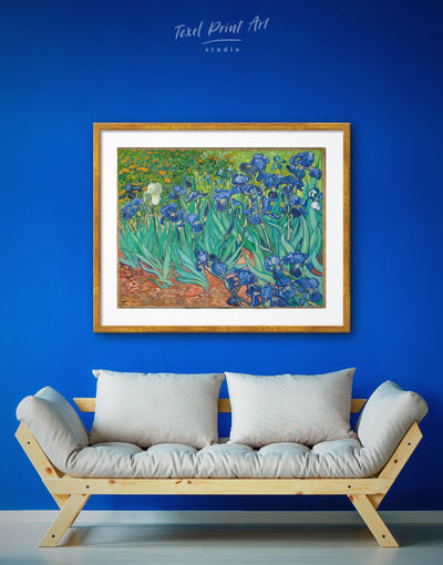 Framed Irises by Van Gogh Wall Art Print - art gallery wall bedroom Blue dining room flora