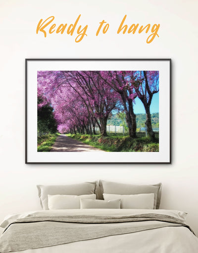 Framed Japanese Blossom Wall Art Print - bedroom cherry blossoms wall art framed print framed wall art japanese wall art