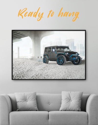 Framed Jeep Wrangler Wall Art Canvas - bachelor pad Car framed canvas garage wall art Grey