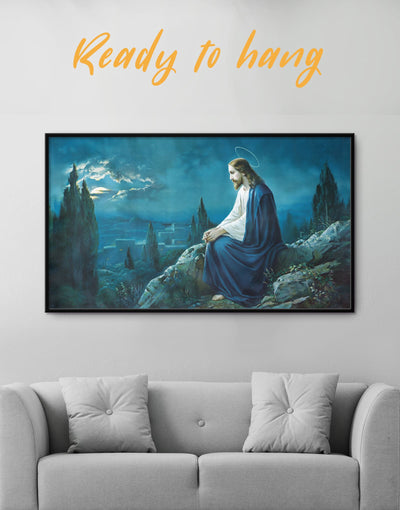 Framed Jesus Wall Art Canvas - bedroom Blue Christian framed canvas Hallway
