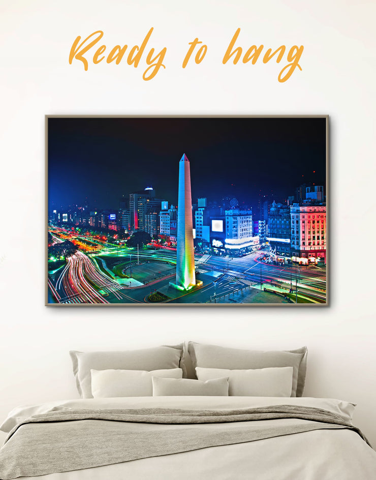 Framed July 9 Avenue Wall Art Canvas - bedroom Blue City Skyline Wall Art Cityscape framed canvas