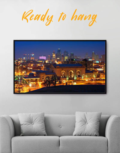 Framed Kansas City Skyline Canvas Wall Art - Canvas Wall Art framed canvas