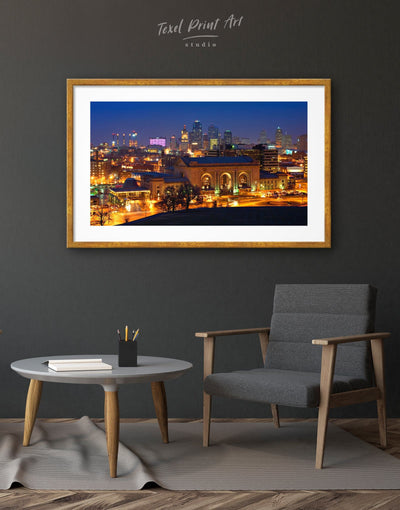 Framed Kansas City Skyline Wall Art Print - Wall Art framed print