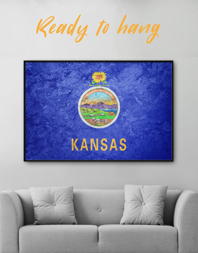 Framed Kansas Flag Wall Art Canvas - bedroom Blue Flag Wall Art framed canvas Hallway