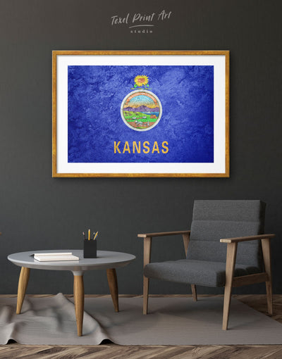 Framed Kansas Flag Wall Art Print - bedroom Blue Flag Wall Art framed print Hallway