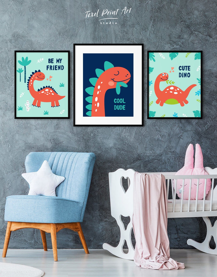 Framed Kids Dinosaur Wall Art Print - Wall Art framed print Kids room kids wall art Nursery Nursery animal prints