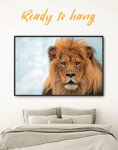 Framed King of Jungle Lion Wall Art Canvas - Animal Animals framed canvas Hallway lion wall art