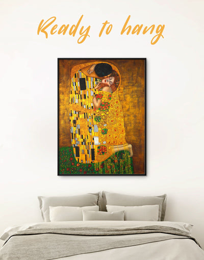 Framed Kiss by Gustav Klimt Wall Art Canvas - art gallery wall bedroom framed canvas Gustav Klimt Hallway